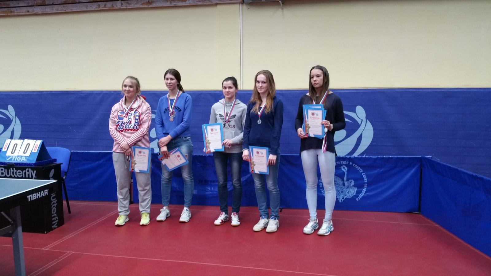 Чемпионат ВУЗов СПБ по наст.теннису среди женских команд